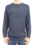 "AFENDS ""ZAR 2"" Crew neck knit INDIGO"