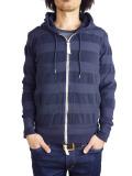 Seagreen pile border hoodie navy