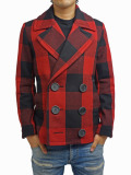 TMT BUFFALO CHECK PEA COAT RED