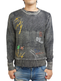 SEVESKIG EMBROIDERY INDIGO SWEATER BLACK