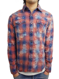 TMT DESTROY PROCESSING INDIGO-CHECK SHIRTS RED