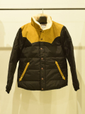 LEATHER COMBINATION DOWN JACKET BLACK