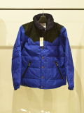 LEATHER COMBINATION DOWN JACKET BLUE