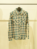 TMT ORIGINALDOUBLE GAUZE CHECK WESTERN SHIRT GREEN