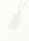 EDF American flag Necklace Silver