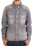 TMT L/SL REGULAR DENIM SHIRT GRAY