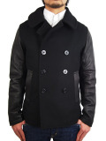 ALPHA MELTON LEATHER COMBI PEA COAT BLACK/BLACK