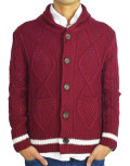 TMT HANDMADE CABLE SHAWL COLLAR CARDIGAN BURGUNDY