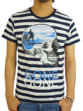 Rolland Berry 別注 S/S STRIPE Tee 'SURF GONE' WHITE/NAVY