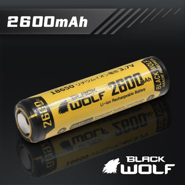 【BLACKWOLF(ブラックウルフ)】18650リチウムイオン電池(2600mAh)★LG Chem★プロテクト回路付き