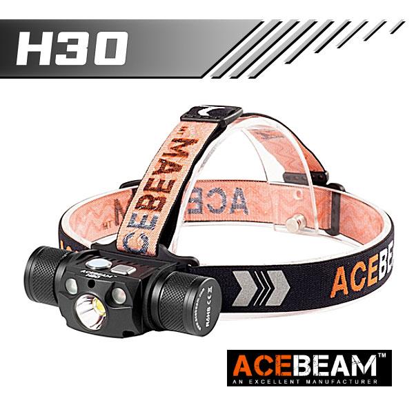 【ACEBEAM(エースビーム)】H30 /Cree(クリー)XLamp XHP70.2、レッドLED、ブルーLED搭載 3500ルーメン★閃光ヘッドライト