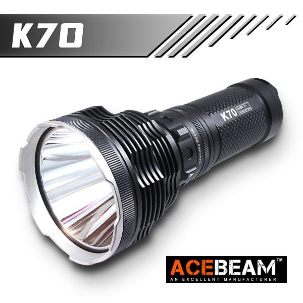 【ACEBEAM(エースビーム)】 K70 /Cree(クリー) XLamp/XHP35 HI Max2600ルーメン/照射距離1300M/バッテリー別売★閃光ハンドライト