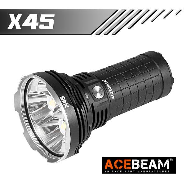 【ACEBEAM(エースビーム)】 X45/ XLamp/XHP70.2 Max18000ルーメン/照射距離622M/18650バッテリー*4装着★閃光ハンドライト 米国 アメリカ