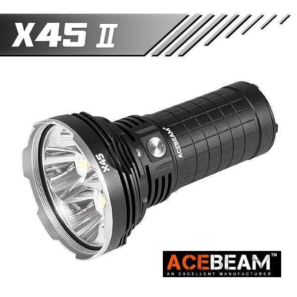【ACEBEAM(エースビーム)】 X45 2/ XLamp/XHP70.2 Max18000ルーメン/照射距離622M/18650バッテリー*4装着★閃光ハンドライト 米国 アメリカ