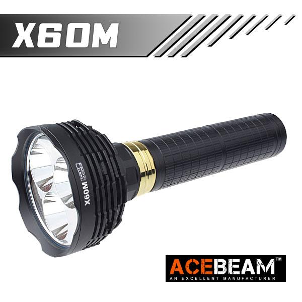 【ACEBEAM(エースビーム)】X60M Cree(クリー)XLamp MT-G2 q0(色温度4000K)*3球 10000ルーメン/バッテリー別売★閃光ハンドライト 米国 アメリカ
