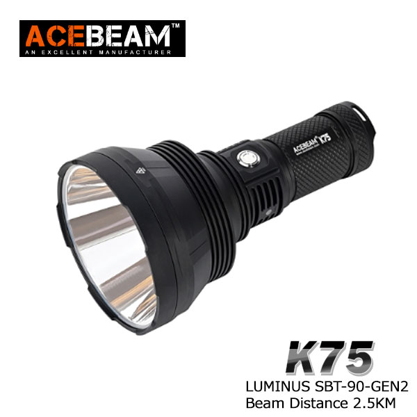 【ACEBEAM(エースビーム)】K75 XLamp/ LUMINUS SBT-90 GEN2 LED  Max6300ルーメン/照射距離2500M/バッテリー装着