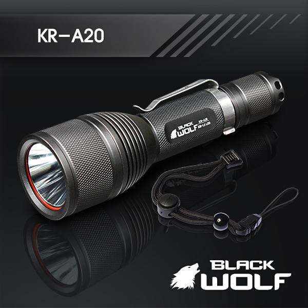 【BLACKWOLF(ブラックウルフ)】ハンディライト KR-A20 [リフレクタータイプ・SMO] A20 Cree(クリー)XLamp XM-L2 LED(ホワイト)/A20★18650リチウムイオンバッテリー/閃光ライト