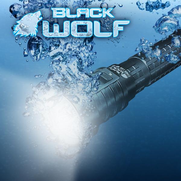 【BLACKWOLF(ブラックウルフ)】ハンディライト [リフレクタータイプ・SMO]WP-4S★ダイビングライトIPX8 60M ★Cree(クリー)XLamp XM-L2 LED(ホワイト)Max3200ルーメン★リチウムイオン電池18650*2本もしくは26650*2本の双方型