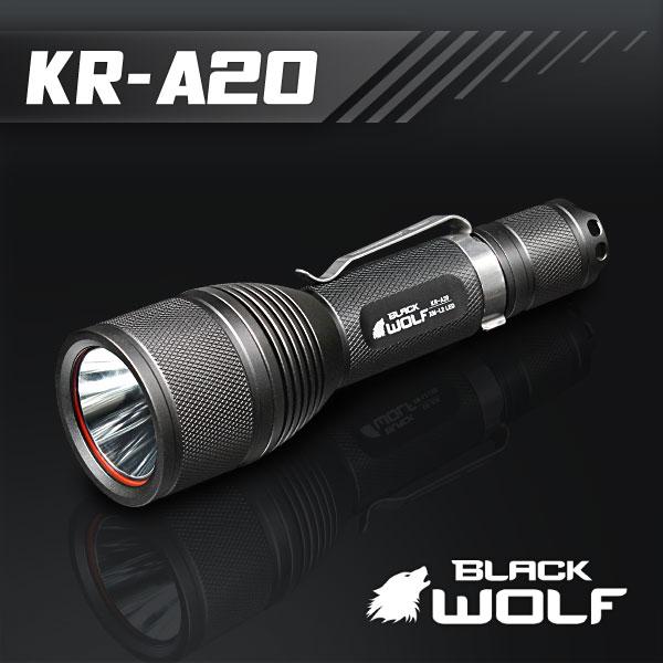 【BLACKWOLF(ブラックウルフ)】ハンディライト KR-A20 [リフレクタータイプ・SMO] A20 Cree(クリー)XLamp XM-L2 LED(ホワイト)Max1200ルーメン★18650リチウムイオンバッテリー/閃光ライト