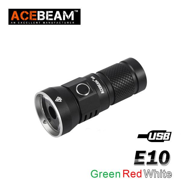 【ACEBEAM(エースビーム)】E10 OSRAM GREEN・WHITE・RED選択/照射距離675M(GREEN)/バッテリー装着
