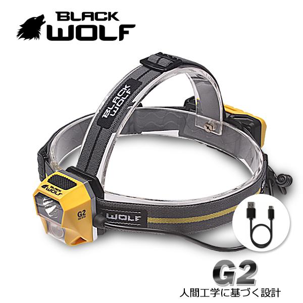 【BLACKWOLF(ブラックウルフ)】ヘッドライトG2 CREE XLamp XP-G2 眼精疲労を軽減 ディスタンスライト(暖色系)とフロッドライト(ホワイト/広角光)/充電機能、角度調整、バッテリーインジケーター、ヘッドバンドシリコン加工/登山、釣り、きのこ狩り、作業用ヘッドライト