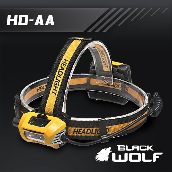 【BLACKWOLF(ブラックウルフ)】ヘッドライト HD-AA ディマースイッチ 単三電池4本 Cree XLamp XM-L2(ホワイト)Max600ルーメン ★長いランタイム 閃光ライト 米国 アメリカ