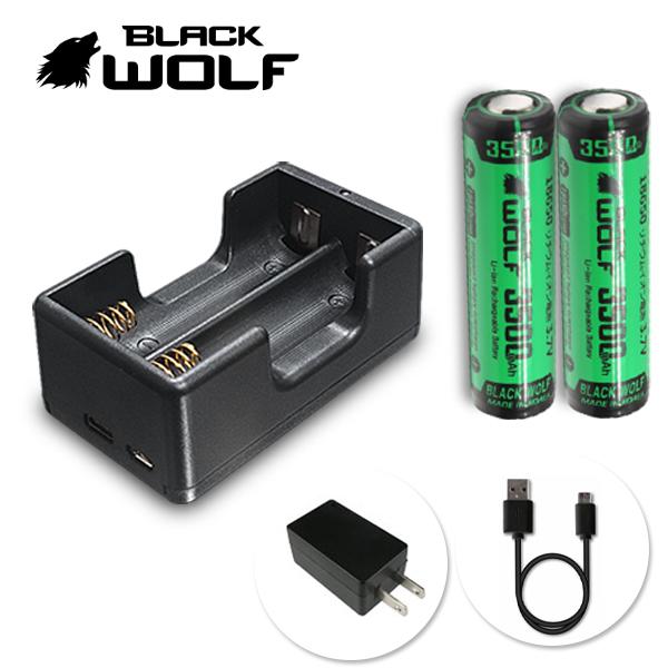 【BLACKWOLF(ブラックウルフ)】急速充電クレードルLi-2500QC(2本用)+18650リチウムイオンバッテリー2本 5V1A 通電性優秀(スプリング端子純金めっき) 充電をランプで表示 マイクロUSBケーブル付き