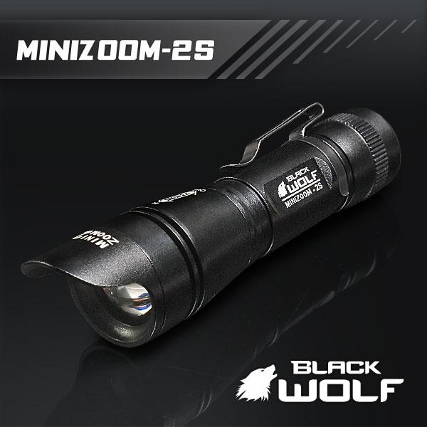 【BLACKWOLF(ブラックウルフ)】ハンディライト ズームタイプ mini-ZOOM 2S ★メモリー機能・放熱機能・光ブラインド★Cree(クリー)XLamp XM-L2 LED(ホワイト)Max950ルーメン/電源18650バッテリー 閃光ライト
