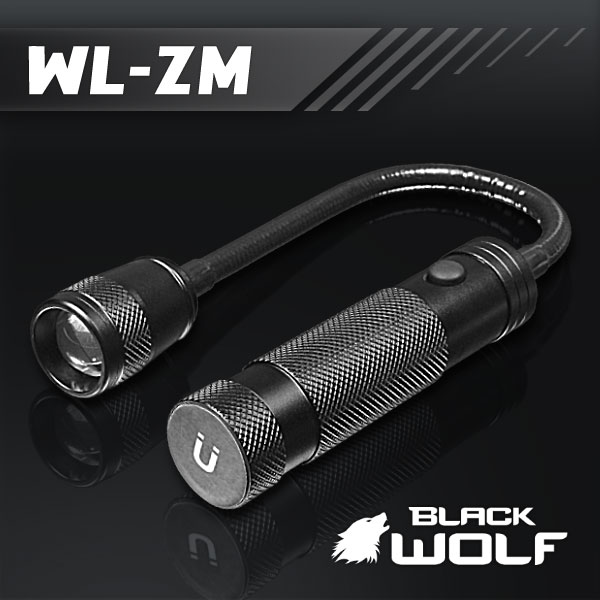 【BLACKWOLF(ブラックウルフ)】ワークライト ズームタイプ WL-ZM ★Cree(クリー)XLamp XM-L2(ホワイト)Max400ルーメン/電源18650バッテリーor単四電池双方型/ 閃光ライト