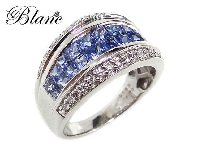 サファイヤダイヤモンドリング ◆ K18ホワイトゴールド