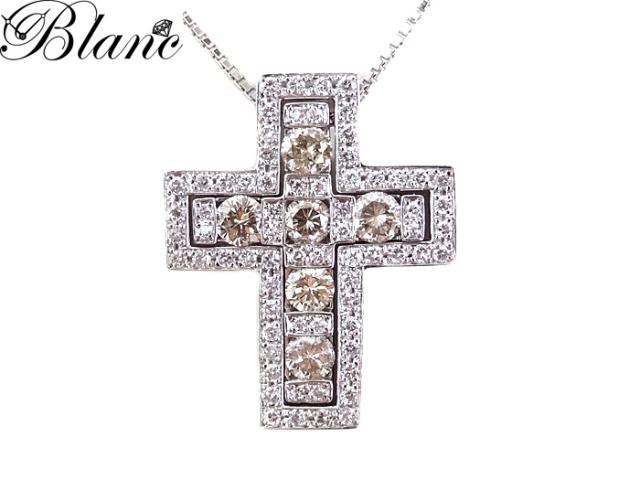 クロス ダイヤモンドネックレス K18WG