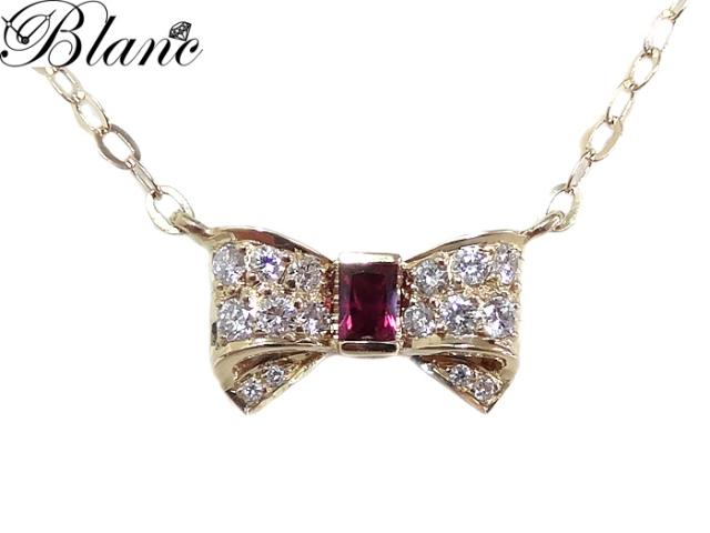 ルビーダイヤモンドネックレス ◆ K18YG