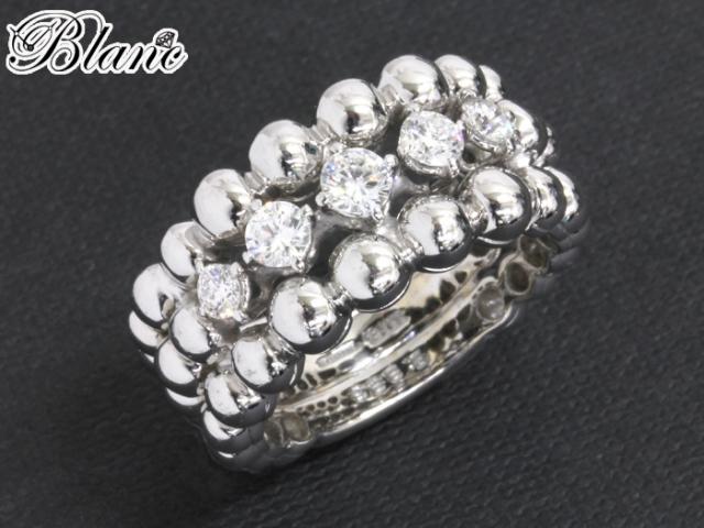 ブシュロン グランドレザン リング ◆ ダイヤモンド K18ホワイトゴールド