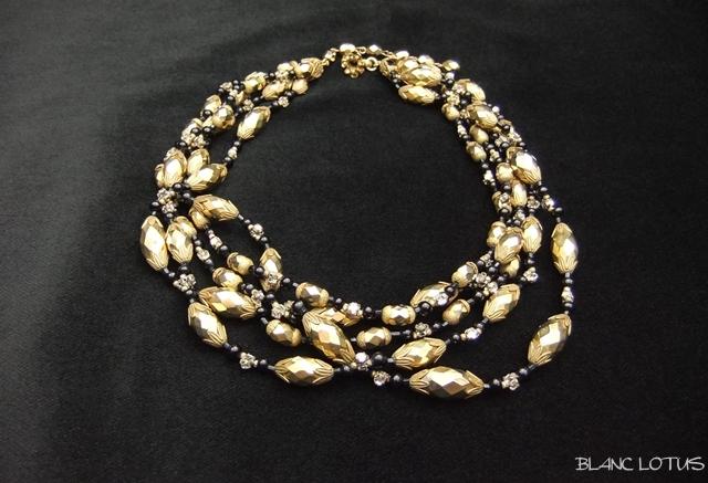 Miriam Haskell(ミリアム・ハスケル)金と黒の五連ネックレス