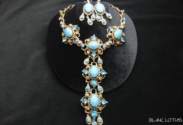 Dior(ディオール)by Kramer  ターコイズのネックレスとピアスのセット 50's