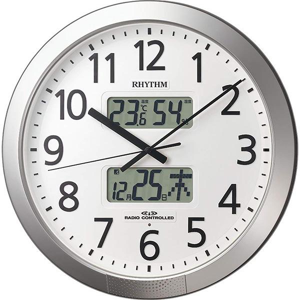 リズム 電波クロック 掛け時計 温度 湿度 4FN404SR19【新品お取り寄せ】 25,0