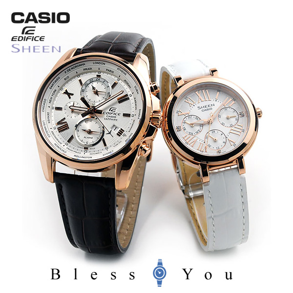 カシオ ペアウォッチ エディフィス&シーン CASIO EDIFICE&SHEEN レザーバンド 限定 EFB-301JL-7AJF-SHE-3034GLJ-7AJF 55,0
