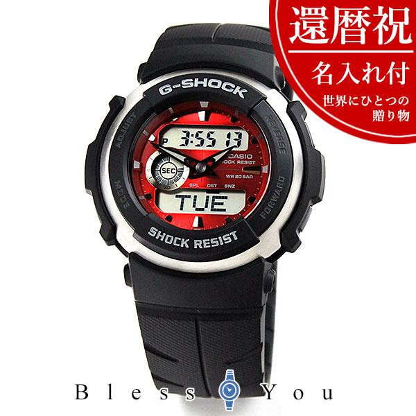 【還暦祝い 名入れ付き】赤い 腕時計 G-SHOCK Gショック メンズ 赤 G-300-4AJF名入れ付set 12-7
