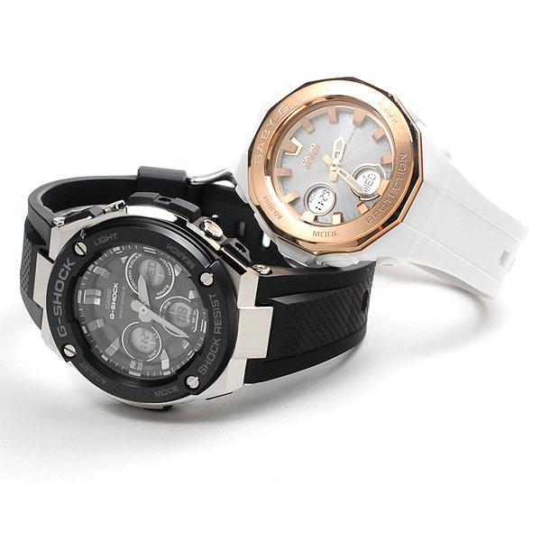 ] [12n] ペアウォッチ G-SHOCKペア 電波ソーラー 腕時計 [black-white gd] G-shock Baby-G GST-W300-1AJF-BGA-2250G-7AJF 61,5