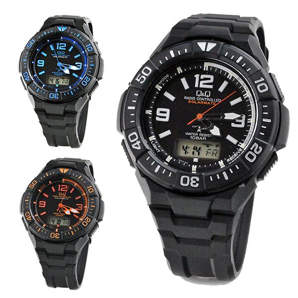 Q&Q ソーラー電波時計 メンズ 腕時計 MD06-select 15.0 10気圧防水 スポーツウォッチ