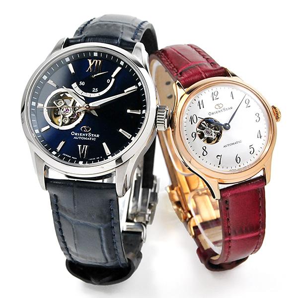ペアウォッチ オリエントスター ペアウォッチ 機械式時計 RK-AT0006L-RK-ND0006S 114,0 NV/RD 皮革 レザーバンド