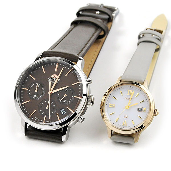 ペアウォッチ オリエント イオ 腕時計 RN-KV0304Y-RN-WG0411S 43,0 レザーバンド 皮革 カップル ブランド