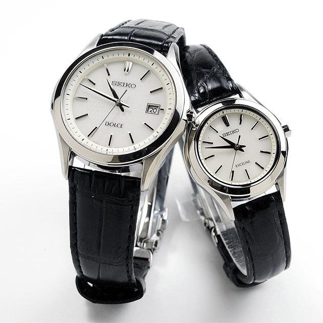 SEIKO セイコー ソーラー ドルチェ & エクセリーヌ ペアウォッチ 腕時計 SADM009-SWCP009 150,0 日本製 レザーバンド