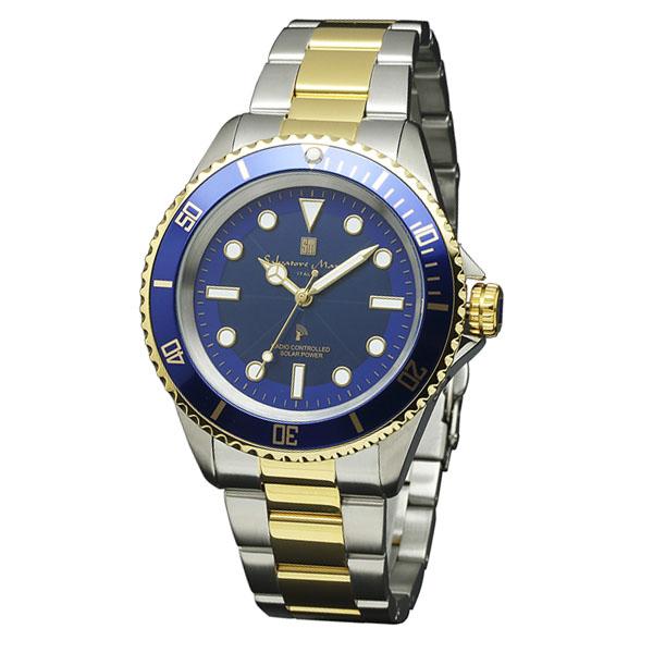 サルバトーレマーラ 電波 ソーラー SM16103-SSBLGD 38.0-12 SALVATORE MARRA 10気圧防水 ダイバーズデザイン 腕時計 メンズ