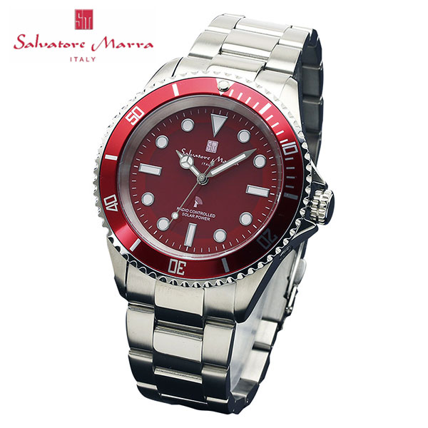 サルバトーレマーラ 電波 ソーラー SM16103-SSRD 38.0-12 SALVATORE MARRA 10気圧防水 ダイバーズデザイン 腕時計 メンズ