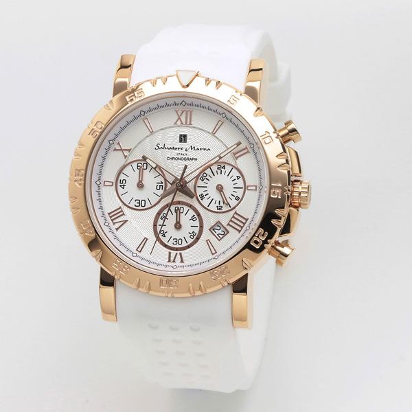 サルバトーレマーラ メンズ 腕時計 クロノグラフ SALVATORE MARRA SM19110-PGWH 28.0