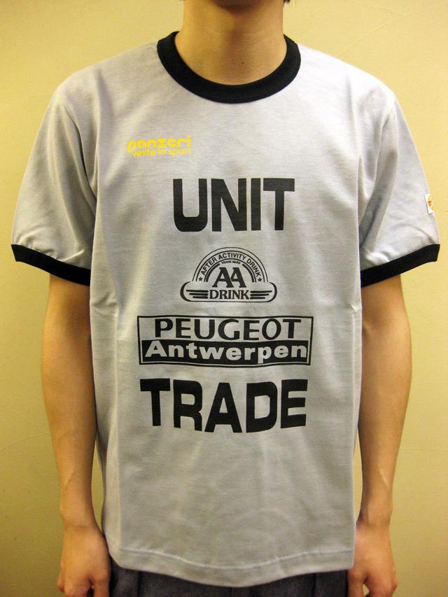 """PANZERI """"UNIT TRADE"""" トリム S/S Tシャツ グレー/ブラック"""