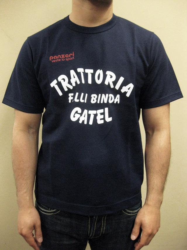 """PANZERI """"TRATTORIA F.LLI BINDA GATEL"""" S/S Tシャツ/ネイビー"""