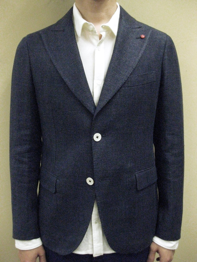 "【送料無料】 ROYAL HEM Cotton/Linen Basket Weave Peaked Lapel Jacket ""KENT"""