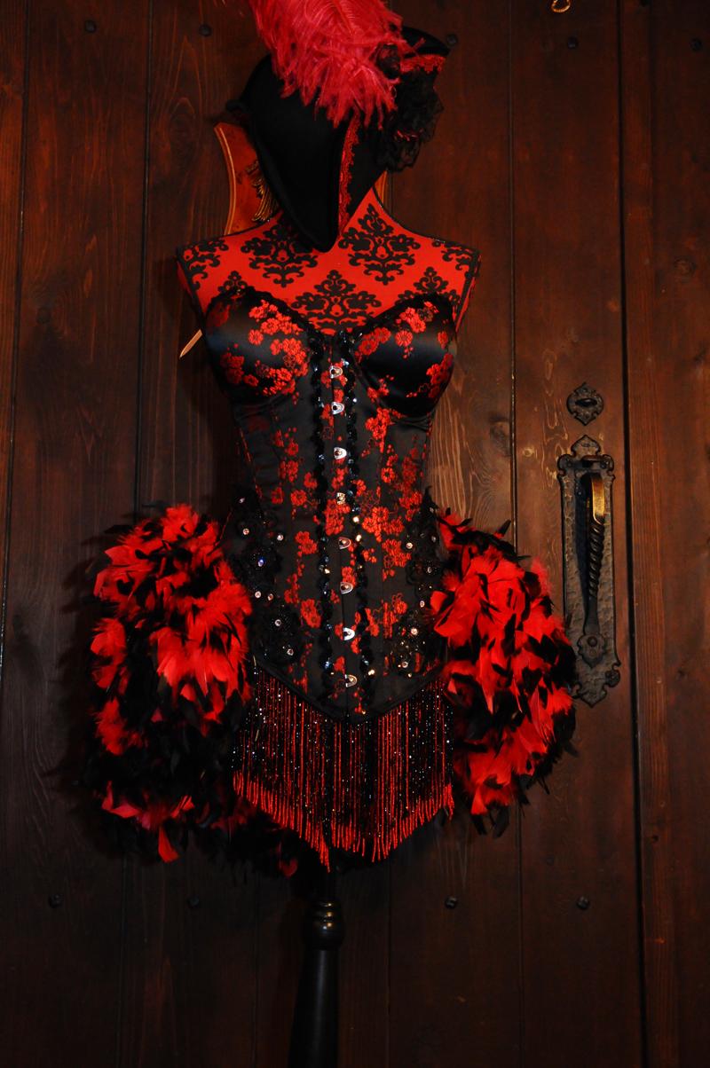 レンタルドレス2泊3日◆バーレスク衣装 赤×黒 羽